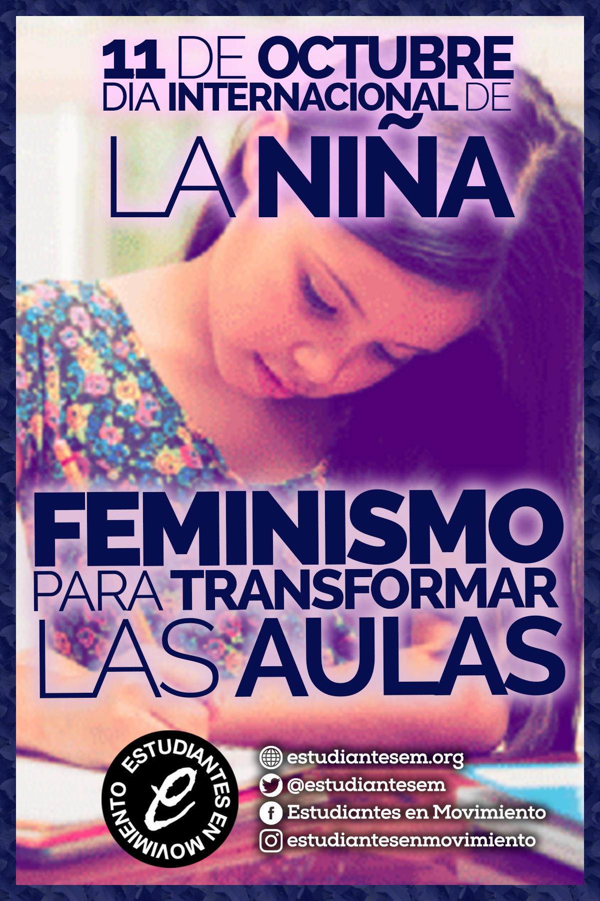Cartel de Estudiantes en Movimiento para el Día Internacional de la Niña