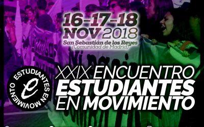Estudiantes en Movimiento celebra su XXIX Encuentro los días 16, 17 y 18 de noviembre en San Sebastián de los Reyes (Madrid)